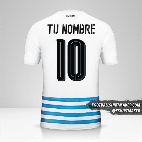 Camiseta Uruguay 2016 II número 10 tu nombre