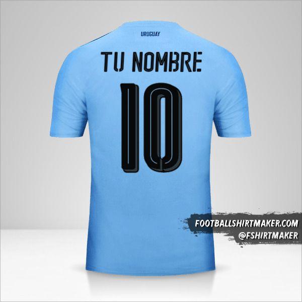 Camiseta Uruguay 2016 número 10 tu nombre
