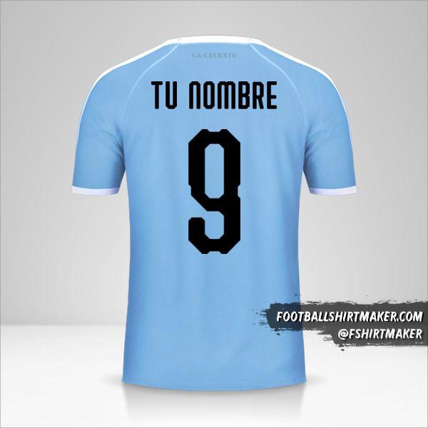 Camiseta Uruguay Copa América 2019 número 9 tu nombre