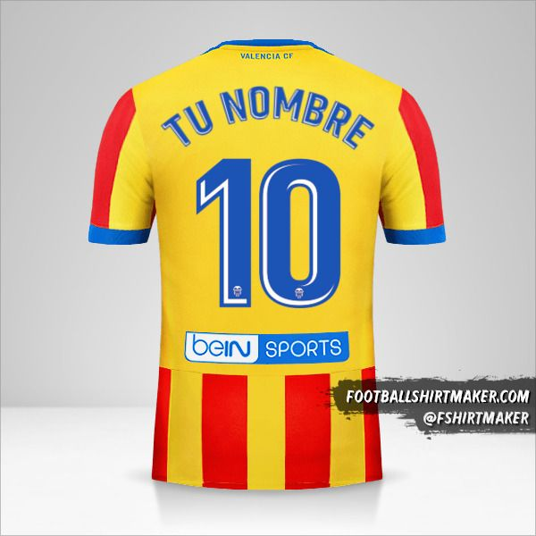 Camiseta Valencia CF 2017/18 II número 10 tu nombre