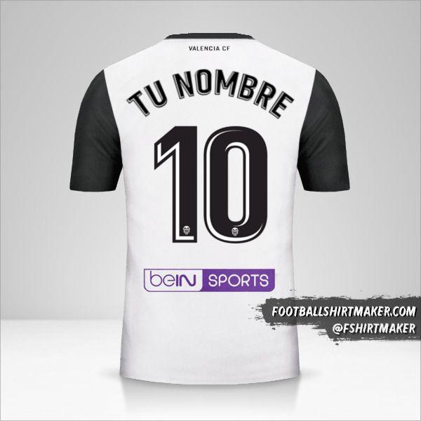 Camiseta Valencia CF 2017/18 número 10 tu nombre