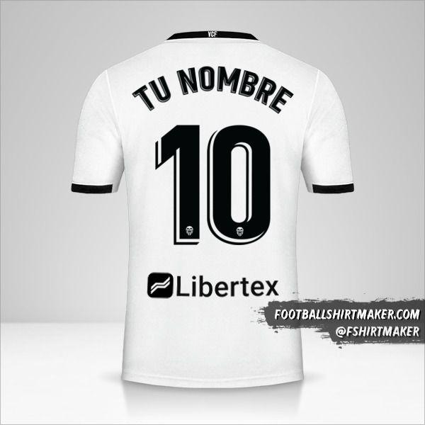 Camiseta Valencia CF 2020/21 número 10 tu nombre