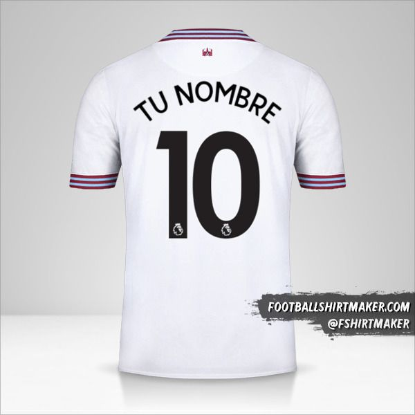 Camiseta West Ham United FC 2019/20 II número 10 tu nombre