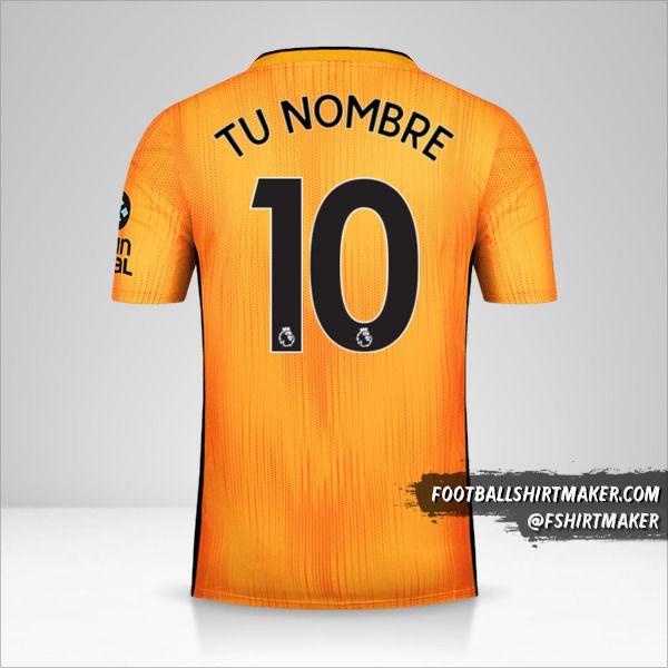 Camiseta Wolverhampton Wanderers 2019/20 número 10 tu nombre