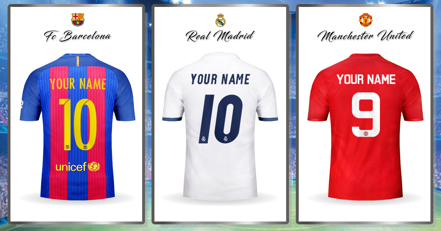 694ebe759 كتابة اسمك على قميص برشلونة او ريال مدريد او اي قميص اخر | مدونة ...